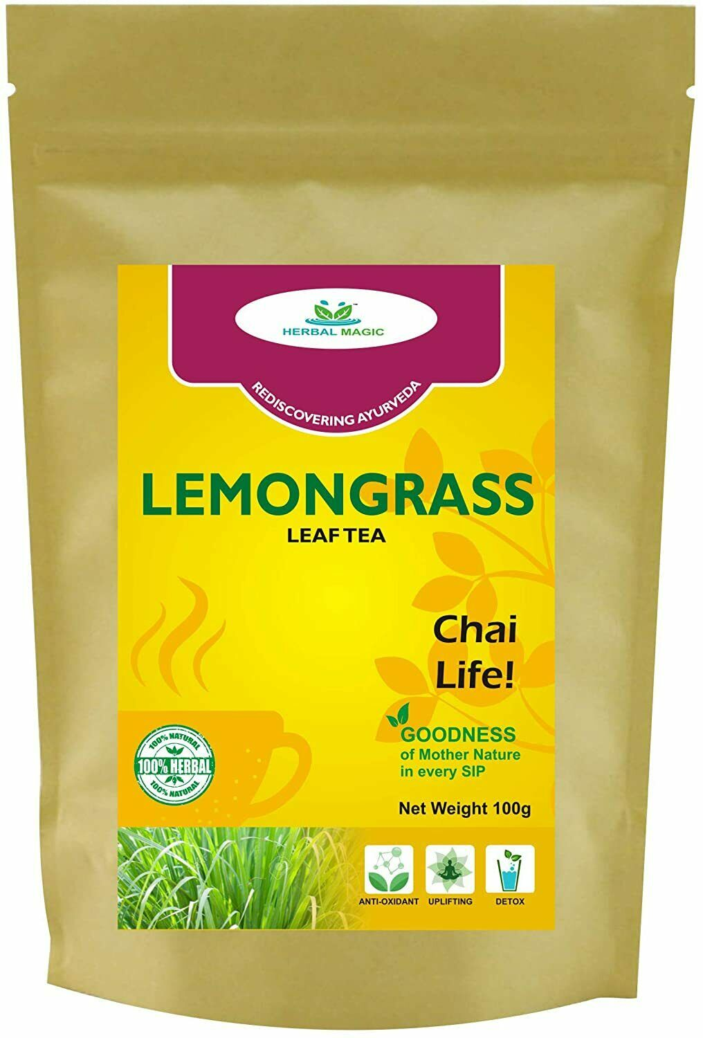 Lemongrass Herbal Tea Cuts Pleasant Flavour Resealable Air-Tight Locking Pack