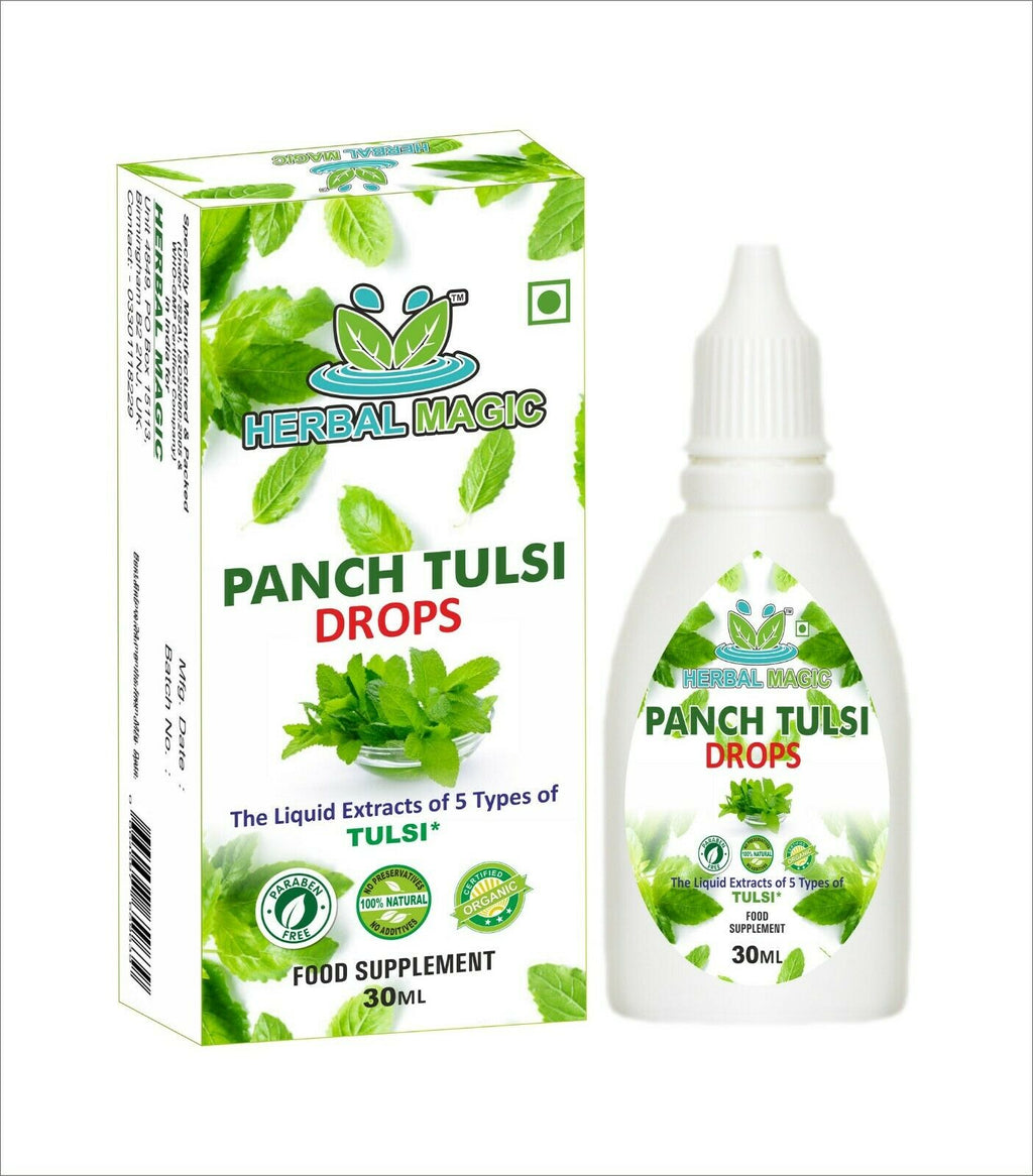 Organic Extract of Five Types of Holy Basil Drops ( Liquid Tulsi ) 30ml