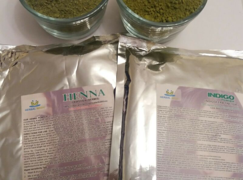 USDA Certified Organic Henna Powder 300g + Organic Indigo Powder 300g - Hair Dye