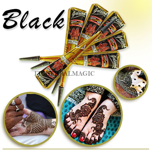 2 X Golecha Instant Dark Black Natural Henna Tattoo Cones Free Body Art Tattoos