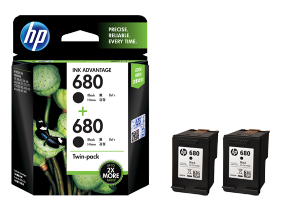 X4E79AA HP 680 Black Ink Cartridge Twin 2-Pack