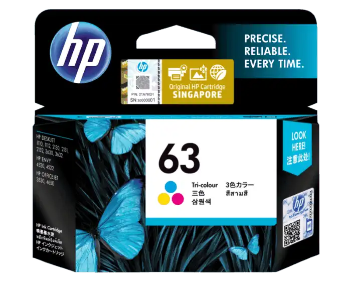 F6U61AA HP 63 Tri-color Ink Cartridge