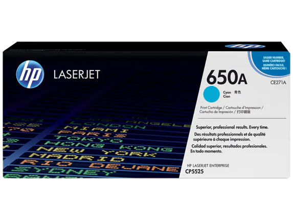 CE271A HP 650A Color LaserJet CP5525 Cyan Cartridge