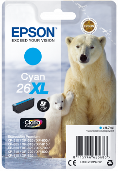 Cartucho original Epson 26XL cian