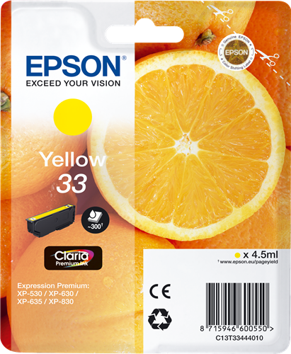 Cartucho original Epson 33 amarillo