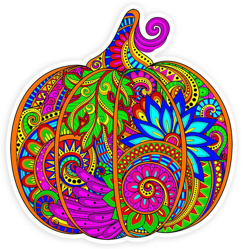 Beautiful Colorful Harvest Pumpkin Vinyl Sticker Decal - 4 inch