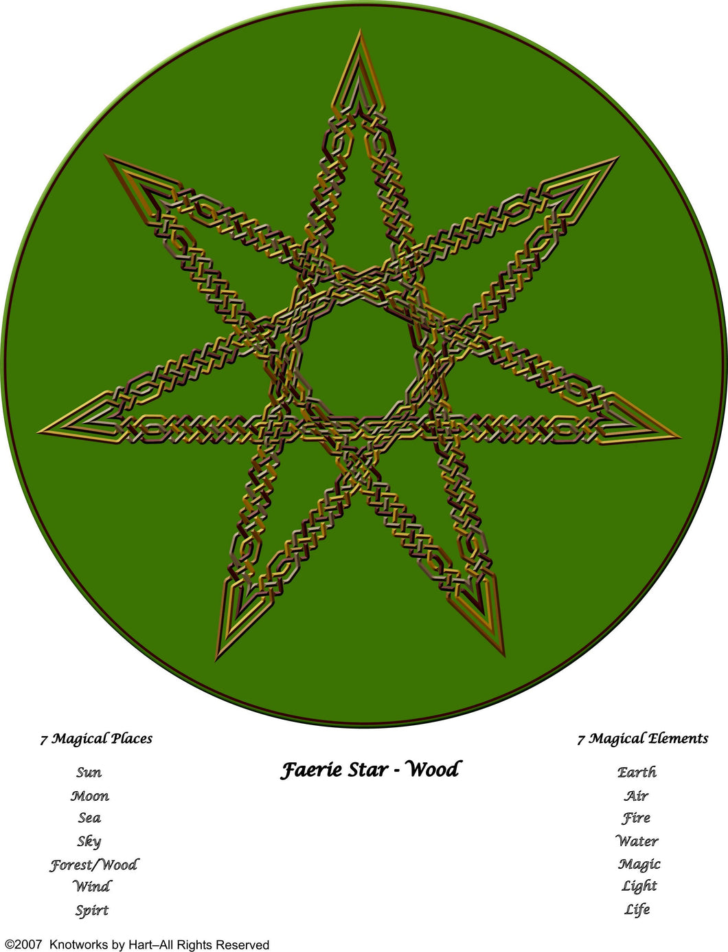 7 point Wood Faerie Star Knot - Print