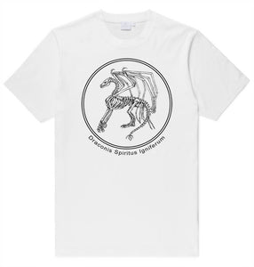 Fire Breathing Dragon Skeleton Printed Graphic T-Shirt