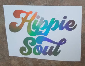 Boho Trippy HIPPIE SOUL Hologram Vinyl Decal Stickers for Cars, Windows, Signs, Etc.