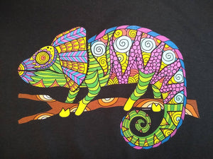 Colorful Chameleon Lizard Graphic Printed T-Shirt