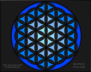 Blue Window- Flower of Life - Print 8.5 x 11