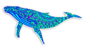 Beautiful Colorful Ocean Whale Vinyl Sticker Decal - 4 inch Whales