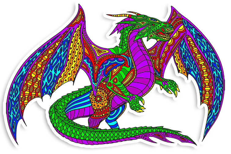 Beautiful Colorful Dragon Vinyl Sticker Decal - 4 inch