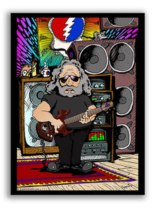 Jerry Garcia With Guitar Cartoon Vinyl Sticker Decal - Grateful Dead