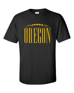 Oregon Football Black and Yellow 100% Cotton Printed Graphic T-Shirt