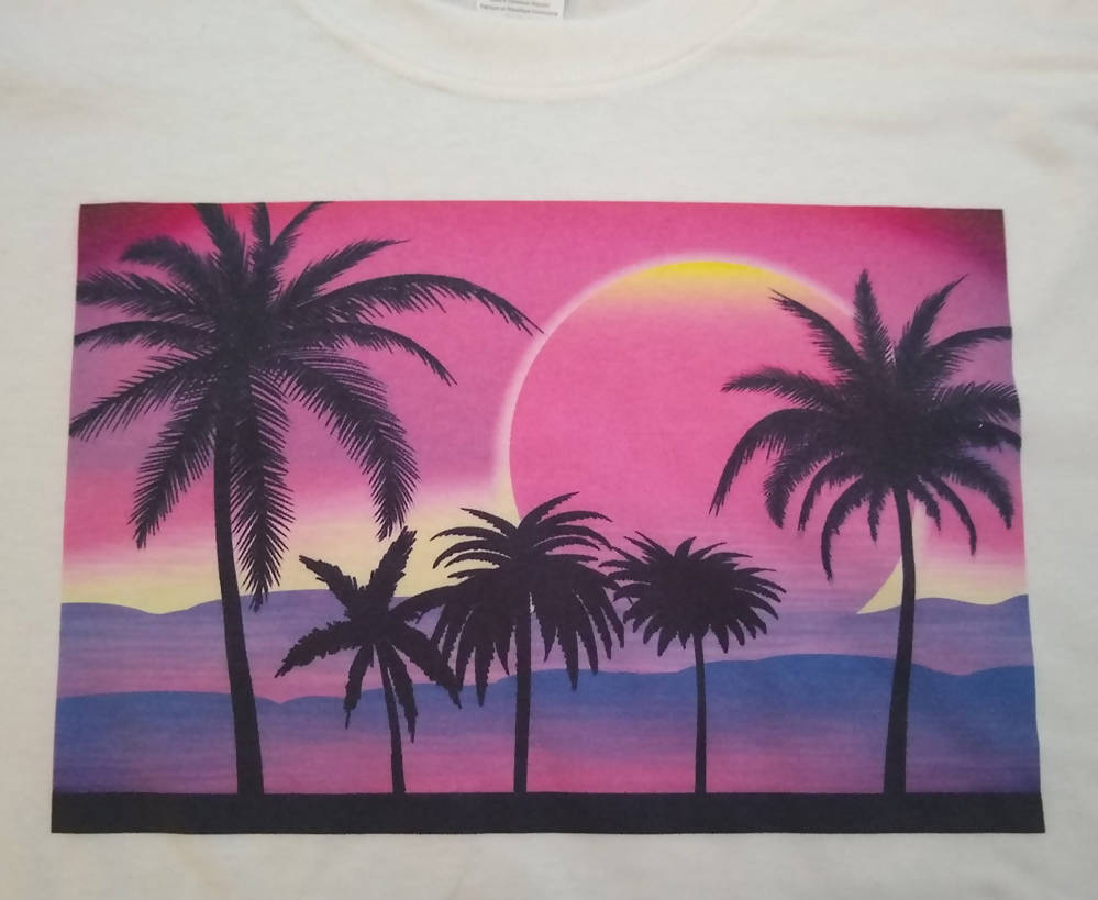 Pink Sunset with Palm Trees Graphic Printed T-Shirt