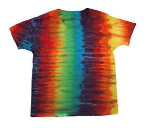 Youth Unisex Tie-Dye T-Shirt Rainbow Stripe 100% Cotton