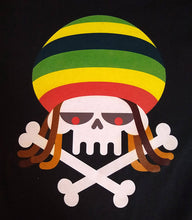Load image into Gallery viewer, Reggae Rasta Skull Dreads and Crossbones Graphic Printed T-Shirt