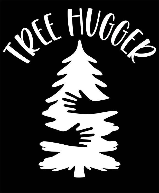 TREE HUGGER Decal - Nature Loving Sticker for Cars, Windows, Signs, Etc. - Free Shipping