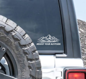 ADJUST YOUR ALTITUDE Mountains Decal Stickers for Cars, Windows, Signs, Etc.