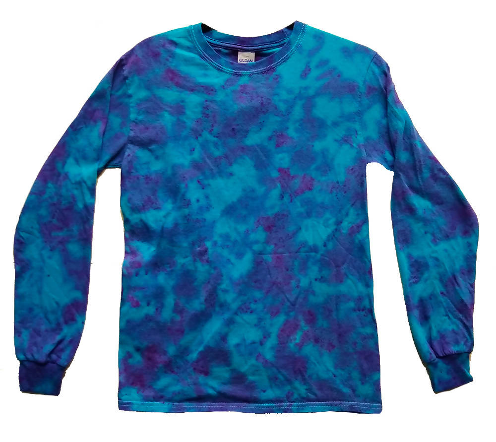 Adult Unisex Purple Turquoise Marble Long Sleeve Tie-Dye T-Shirt 100% Cotton