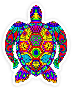 Beautiful Colorful Sea Turtle Vinyl Sticker Decal - 3 inch Tortoise