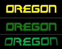 Load image into Gallery viewer, Oregon Decal - Oregon Name Sticker for Cars, Windows, Signs, Etc. in Yellow, Green or Glitter Green