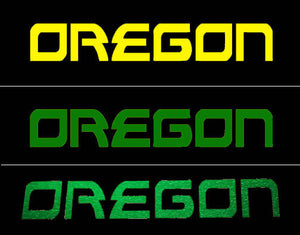 Oregon Decal - Oregon Name Sticker for Cars, Windows, Signs, Etc. in Yellow, Green or Glitter Green