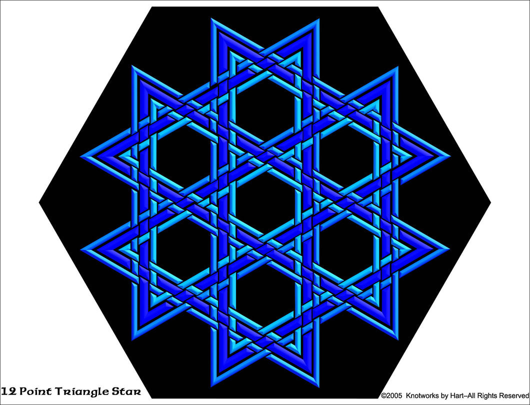 Knotwork 12 point Blue Star Knot - Print