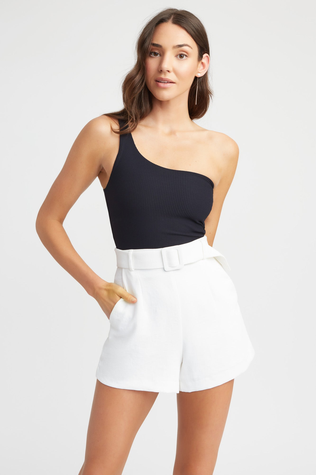 womens white shorts high waist classic belt