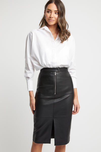 Pascale Leather Midi Skirt