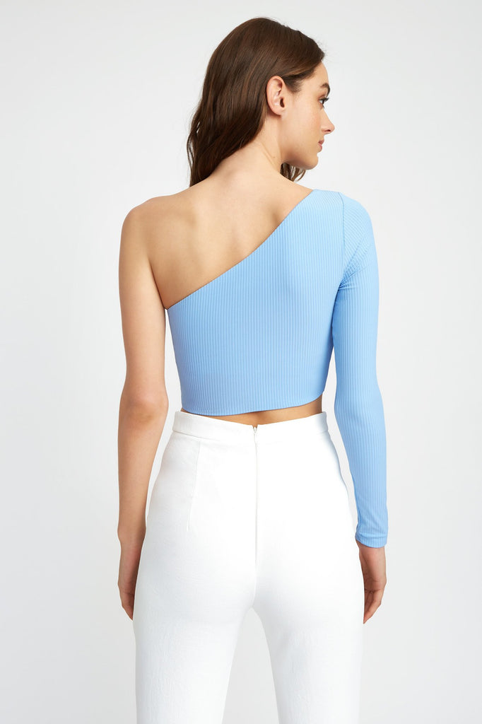 One Shoulder Long Sleeve Crop
