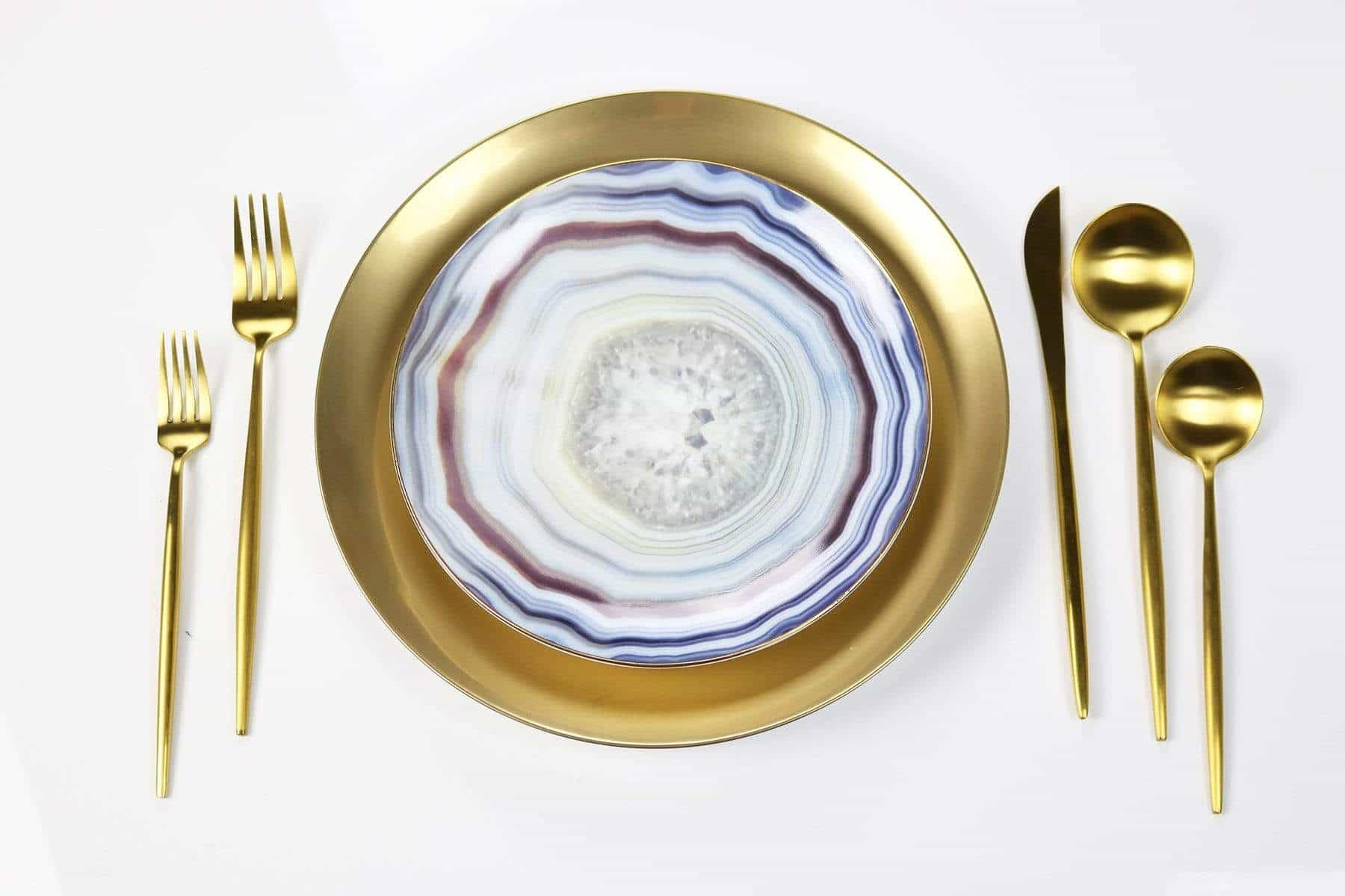 Blue Agate Plate-Set of 4