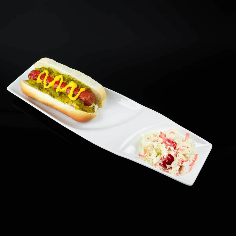 white porcelain 2 section hotdog plate-set of 4