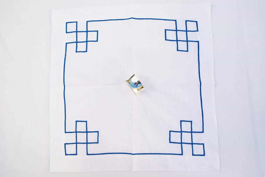 Navy Fretwork Embroidered Napkin