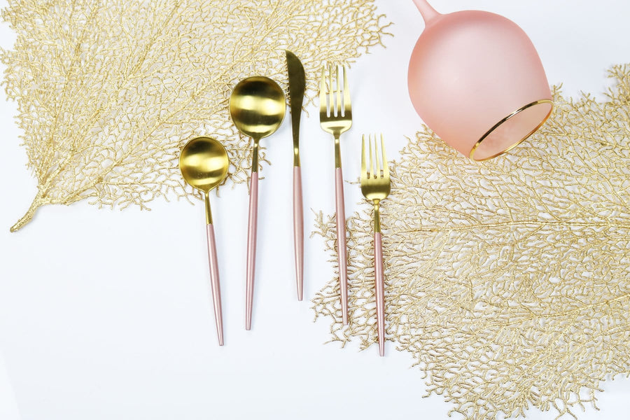 Pink and Gold Obelisk Flatware-20 Pieces