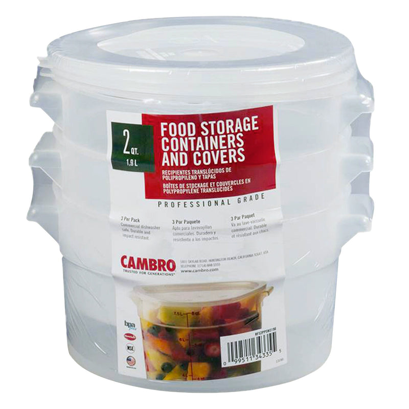 Cambro 1.89 L Round Translucent Container and Lid;Pack of 3