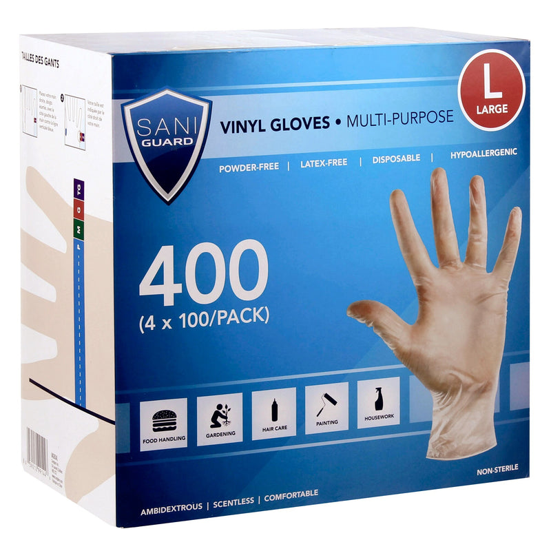 Sani Guard Large Vinyl Gloves;4 packs of 100