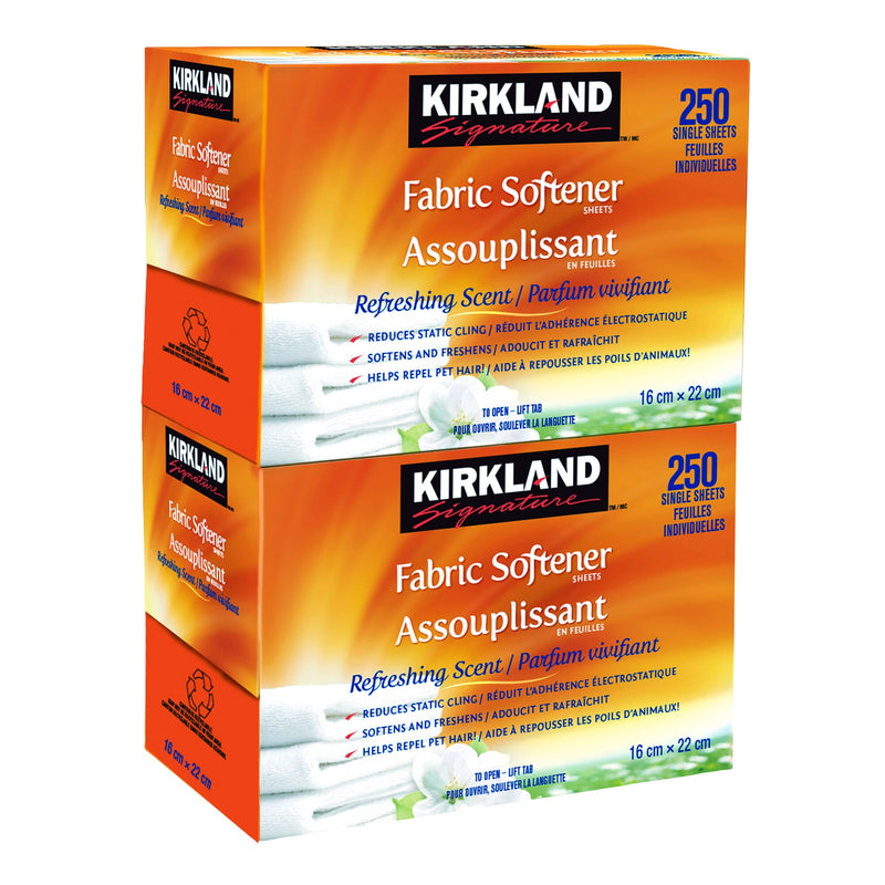 Kirkland Signature Fabric Softener Sheets;2 packs of 250