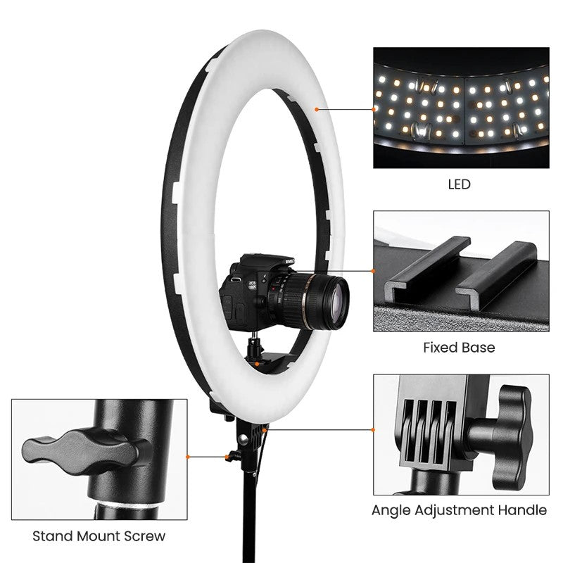 ringlightus 18 inch ring light for easily adjustable light head angle