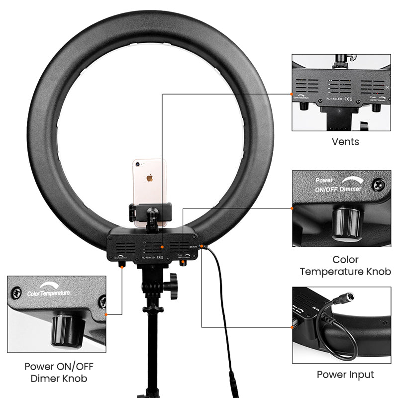 ringlightus 18 inch ring light for multi function button