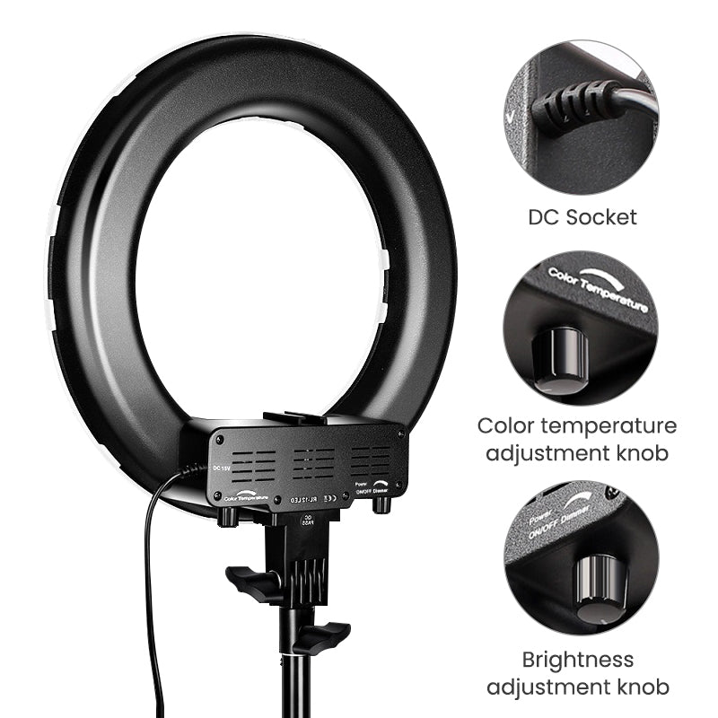ringlightus 14 inch ring light color temperature and brightness adjustable knob