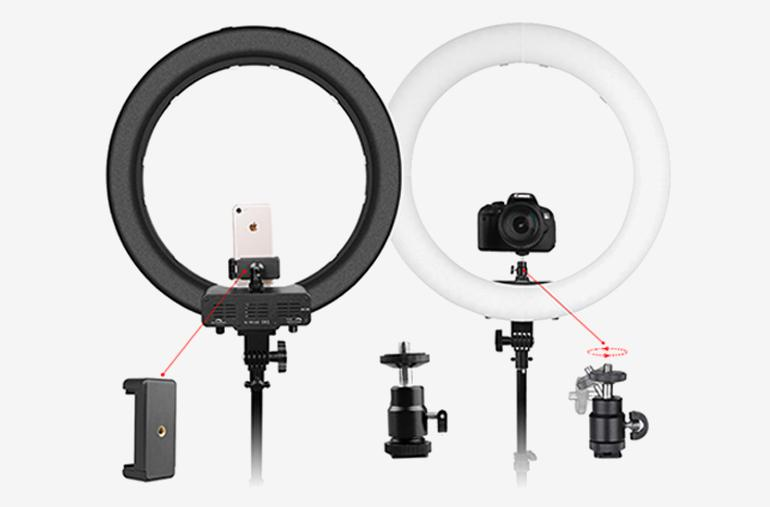 ringlightus 18 inch ring light with rotating and compatible phone holder