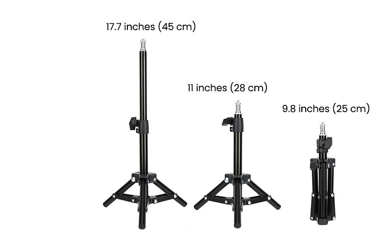 ringlightus 8 inch ring light with 9.8 inches to 17.7 inches stable tripod stand