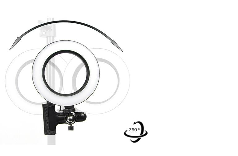 ringlightus ring light with clip with 360 degrees rotating head design