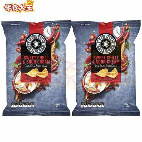 RED ROCK DELI 甜辣椒酸忌廉味薯片 Sweet Chilli & Sour Cream Potato Chips 165g x 2包(9310015240645_2)[澳洲直送][無麩質 Gluten Free]