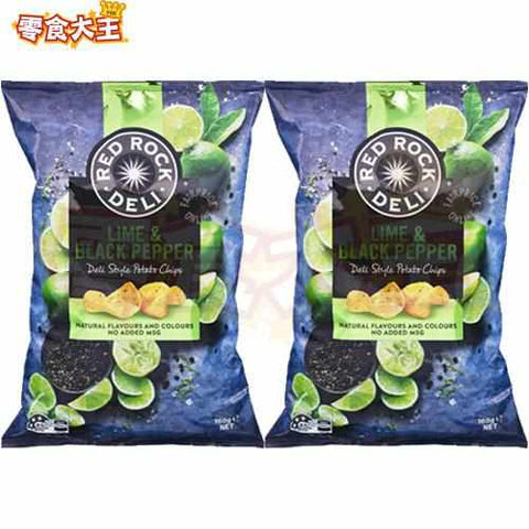 RED ROCK DELI 青檸黑椒味薯片 Lime & Black Pepper Potato Chips 165g x 2包 (9310015240652_2)[澳洲直送][無麩質 Gluten Free]