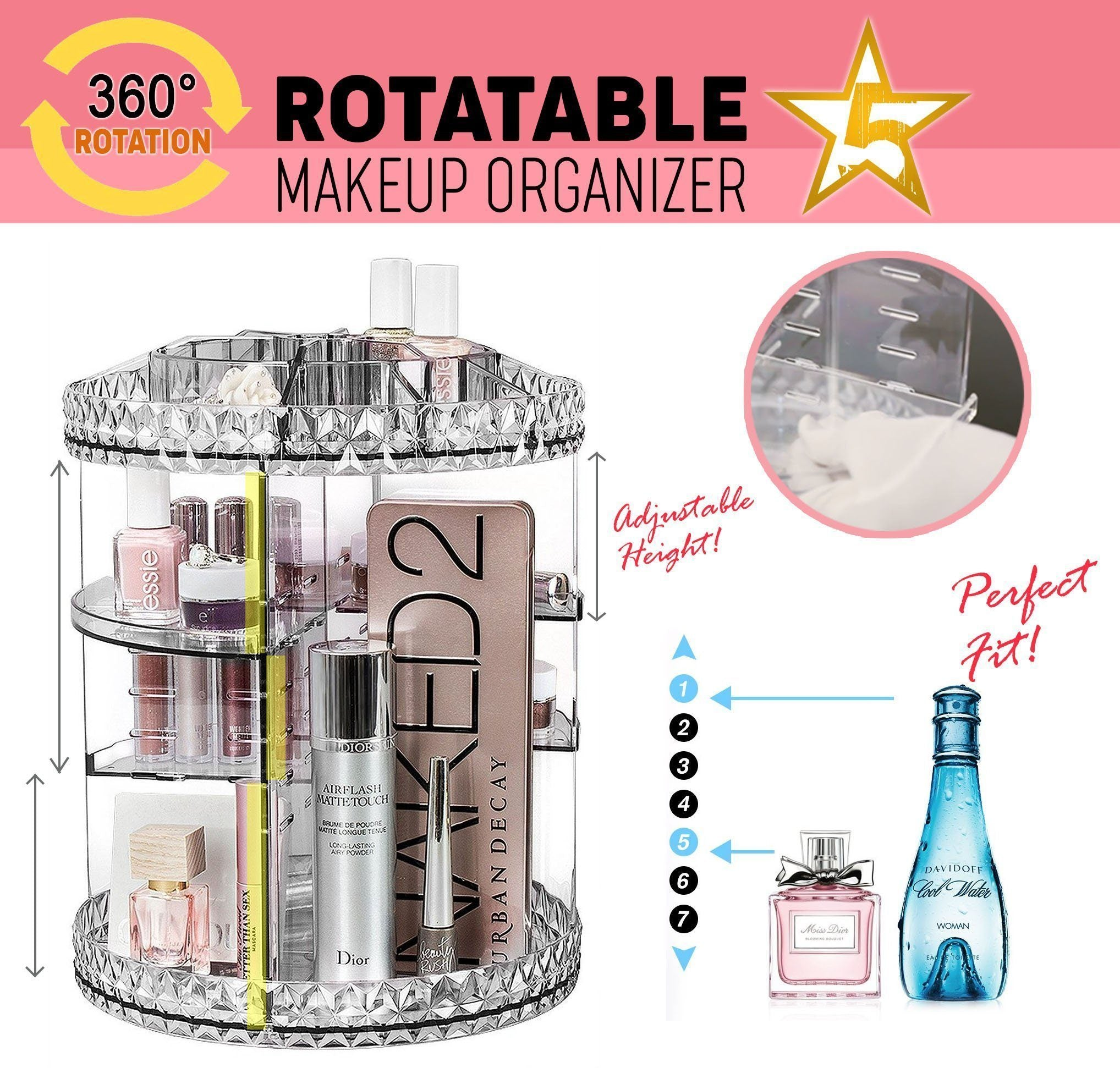 360° Rotatable Makeup Organizer