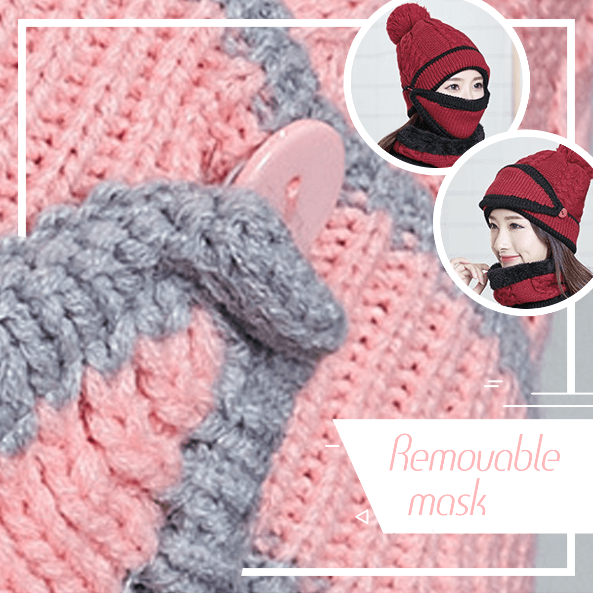 3 in 1 Beanie and Scarf for Women