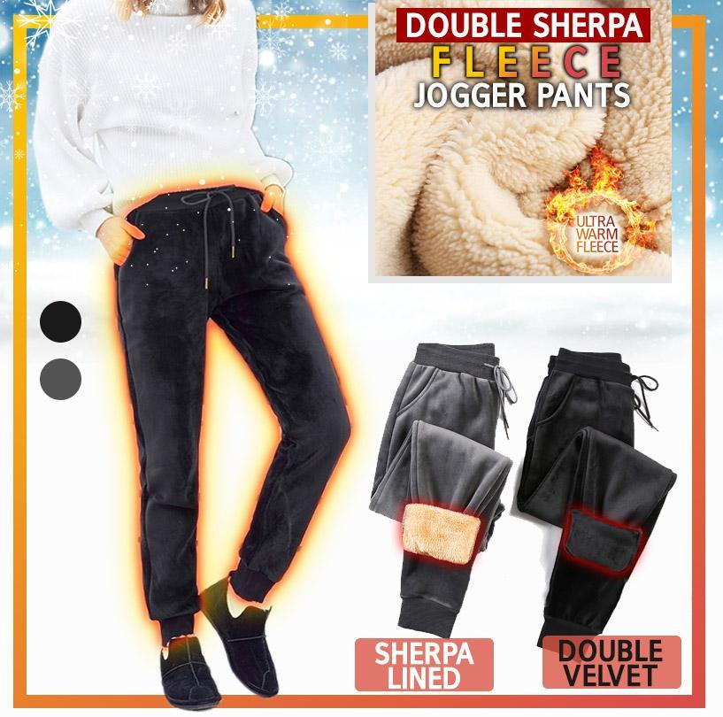 Double Sherpa Fleece Jogger Pants